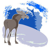 Elk in a forest glade — Stock Vector