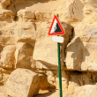 Stock Photo: Landslide warning sign