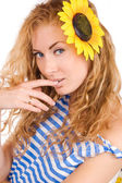 Woman in striped vest and sunflower — Stock Photo