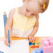 Baby girl drawing — Stock Photo