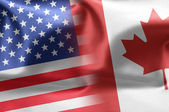 Flags of the United States and the Canada. — Stock Photo
