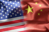 Flags of the United States and the China. — Stock Photo