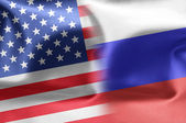 Flags of the United States and the Russian Federation. — Stock Photo