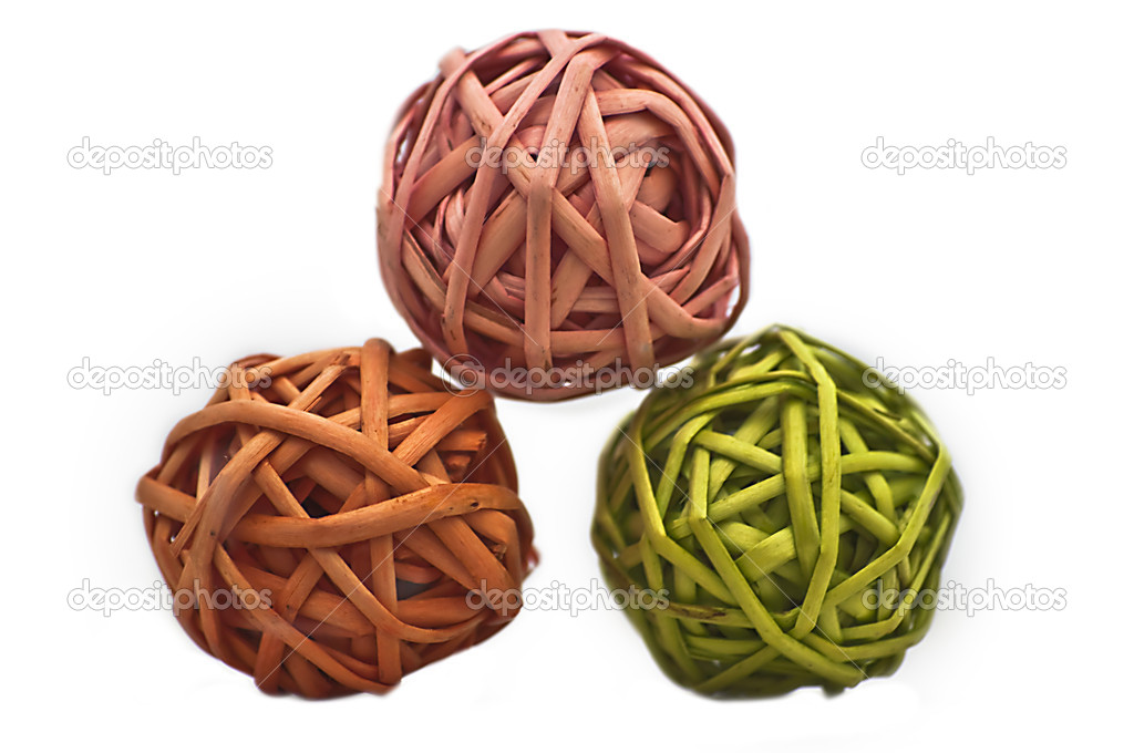 Colorful woven balls. Made from a thin straw.  Stock Photo #7849703
