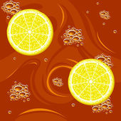Tea and citrus seamless — Stock Vector