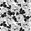 Stock Vector: Peonies seamless black and white