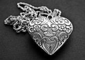 Silver heart pendant — Stock Photo
