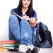 Student doing homework on break — Stock Photo