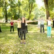 Large group exercising in park — Stock Photo #6836503