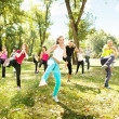 Stock Photo: Tae Bo class, outdoor