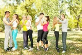 Group of dancers, outdoor — Stock Photo