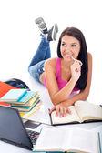 Student learning on floor — Stock Photo