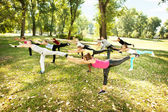 In park warming up stretching — Stock Photo
