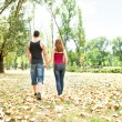 Couple in love walking — 图库照片