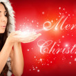 Sexy girl wearing santa claus clothes — Stok fotoğraf #6916272