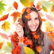 Autumn woman holding cone — Stock Photo #6916354