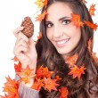 Autumn woman with  cone - Stockfoto