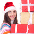 Christmas woman with present — Stock Photo