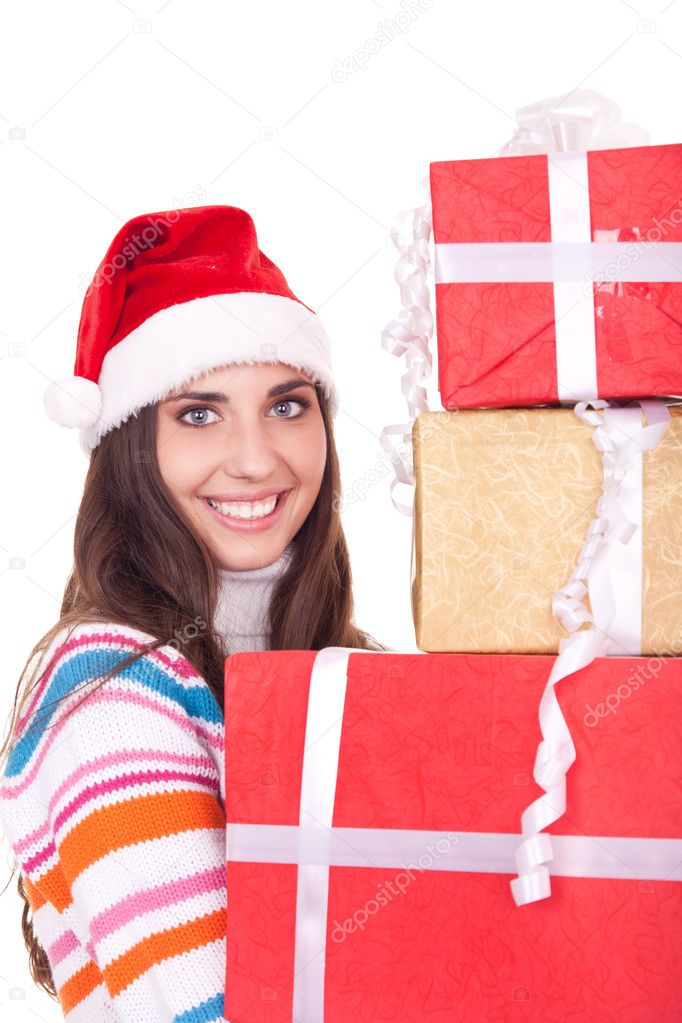 Young christmas woman with gifts, isolated on white background — Zdjęcie stockowe #6916411