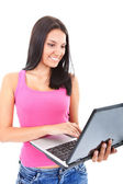 Beautiful girl with laptop — Stock Photo