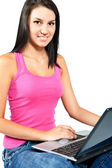 Student girl with laptop — Stock Photo