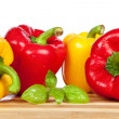 Stock Photo: Red and yellow paprika
