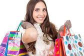 Smiling shopping girl — Stock Photo