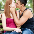 Young couple kissing each other — Foto Stock