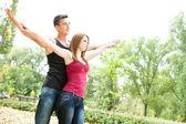 Ehepaar mit ihrer ausgestreckten — Stockfoto