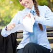 Stock Photo: Businesswomterminate contract