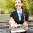 Smiling businesswoman on break — Stock Photo #7363556