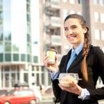 Businesswoman with breakfast — Stock Photo #7363602