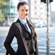 Cheerful businesswoman, outdoor — Stock Photo