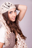 Woman wearing a scarf — Stock Photo