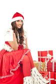 Sexy girl wiring santa claus clothes — Stock Photo