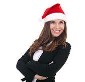Noel baba şapkası ile mutlu iş kadını, — Stok fotoğraf