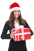 Businesswoman with christmas gift — Stok fotoğraf