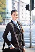 Cheerful businesswoman, outdoor — Stock Photo
