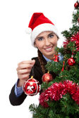 Woman with christmas ball — Stock Photo