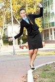 Young businesswoman having fun — Stock Photo