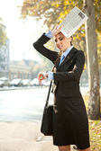 Business woman is late — Stock Photo