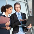 Two businesswomen looking in laptop — Stock Photo
