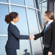 Businesswomen shaking hands - Stock Photo
