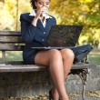 Business woman with laptop on coffee break - Photo