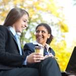 Two businesswomen on coffee break — Stock Photo
