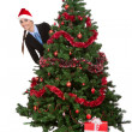 Girl peeking behind christmas tree — Stock Photo #7585420