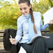 Businesswoman working outdoor - Stock Photo