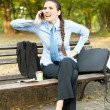Stock Photo: Frustrate businesswomon phone