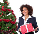 Smiling afro girl with present — Stock Photo