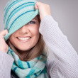 Smiling funny winter girl — Stock Photo